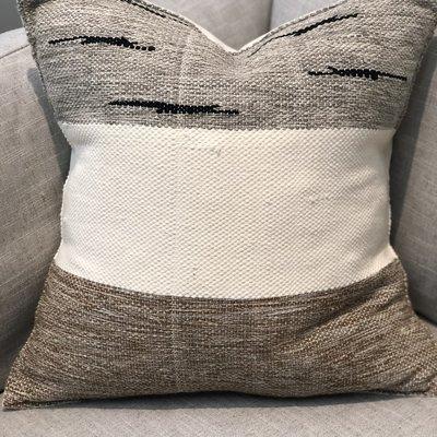"Wayil Guatemala Handmade Pillow 18""X18"" Bone/Black/Brown IPMM07C"