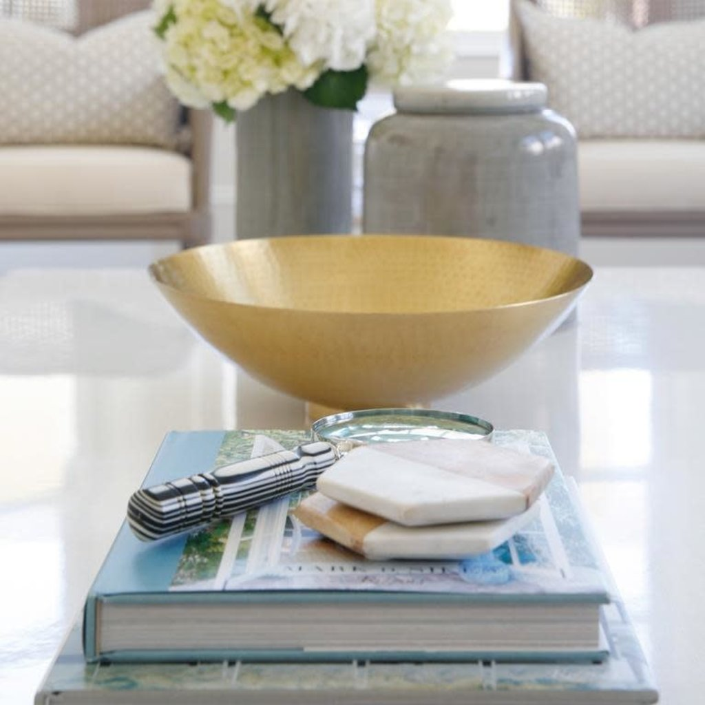 Bloomingville White Marble and Wood Hexagon Coaster