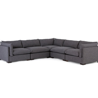 Four Hands Westwood Sectional 5pc- Bennett Charcoal