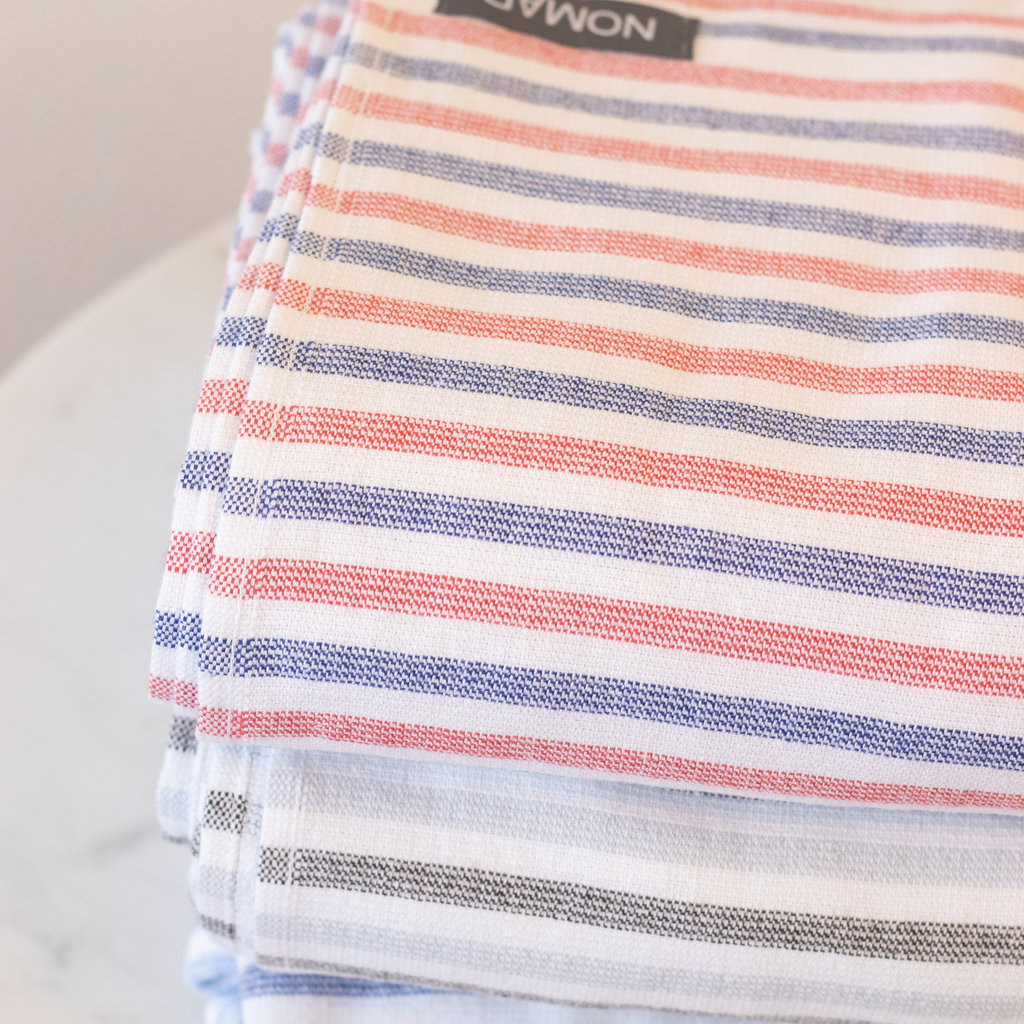 Zebra Terry Bath Sheet  BLUE/REDSTRIPE