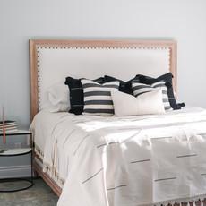 Oaxaca Queen Coverlet - Cream/Black Stripe