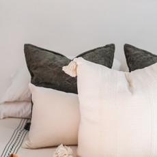 Oaxaca Double Coverlet - Cream/Olive Stripe