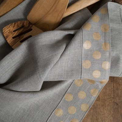 Dots Tea Towels Natural with Natural Gold Dots Border