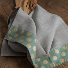 - Dots Tea Towels Natural with Green Gold Dots Border