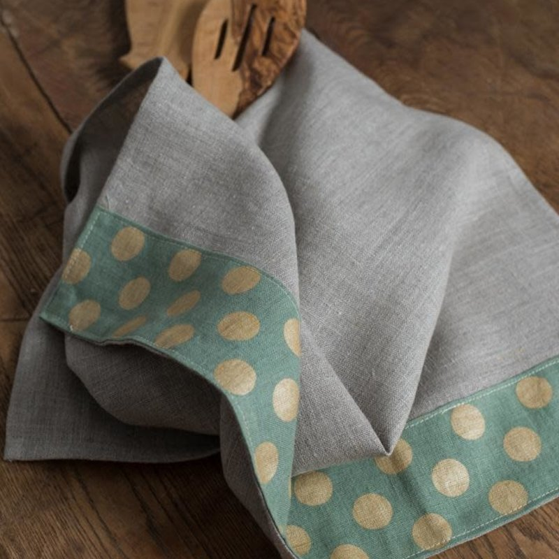 Dots Tea Towels Natural with Green Gold Dots Border