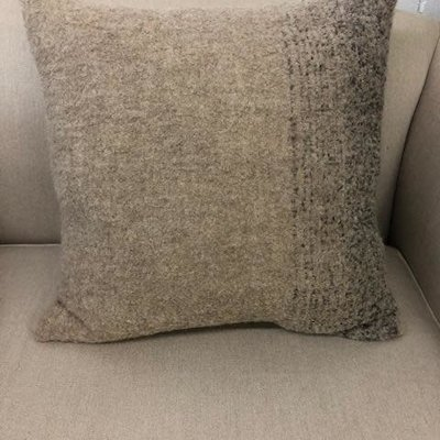 Alpaca  Pillow Cover - Oatmeal/Charcoal with Oatmeal Back