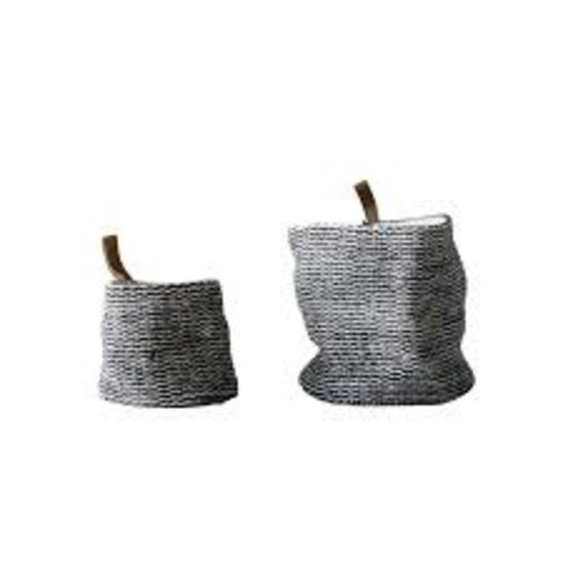 Creative Co-Op Jute Baskets w/ Leather Hook (set of 2)