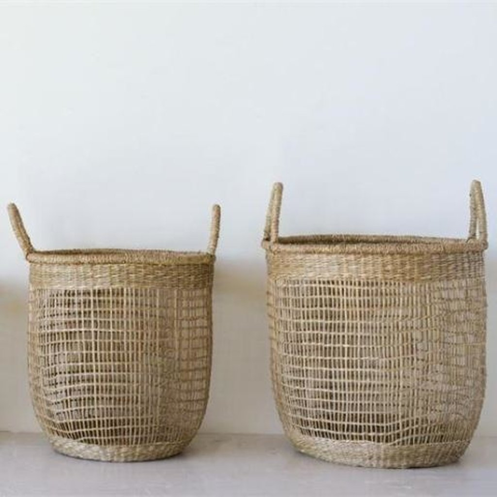 - Hand Woven Round Seagrass Basket