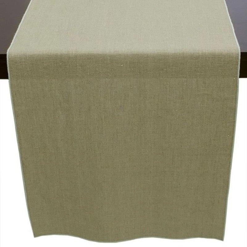 Linen Runner- Flax with Aqua Trim