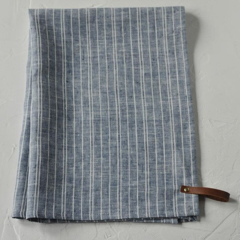 Linen Powell Denim Stripe  Tea Towel