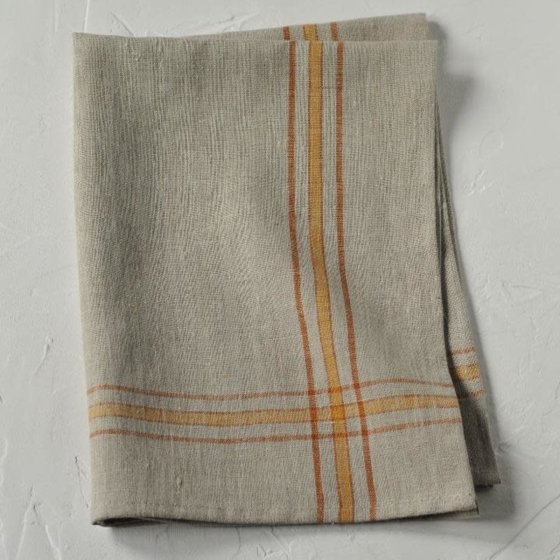 Linen Way Linen Karlie Tea Towel- Flax/Rust