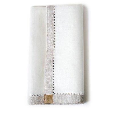 Carmella Linen Napkins - White/Beige  (Set of 4)