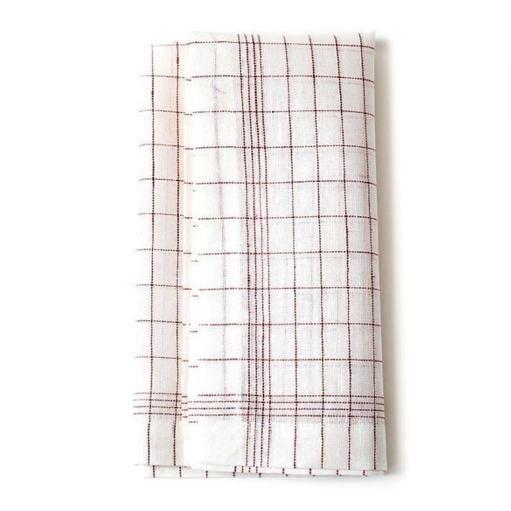 Red Check Linen Napkins (Set of 4)