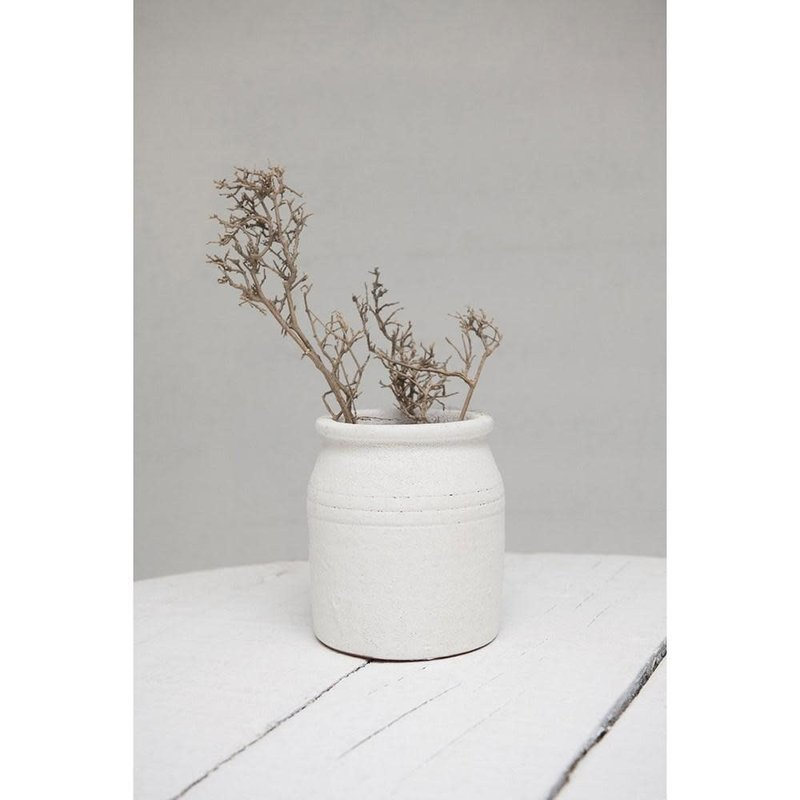 - Terra-Cotta Crock Distressed White
