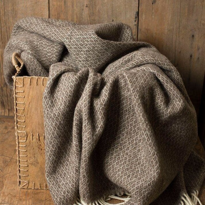 Linen Way Kensington Wool - Ivory/Coffee Diamond