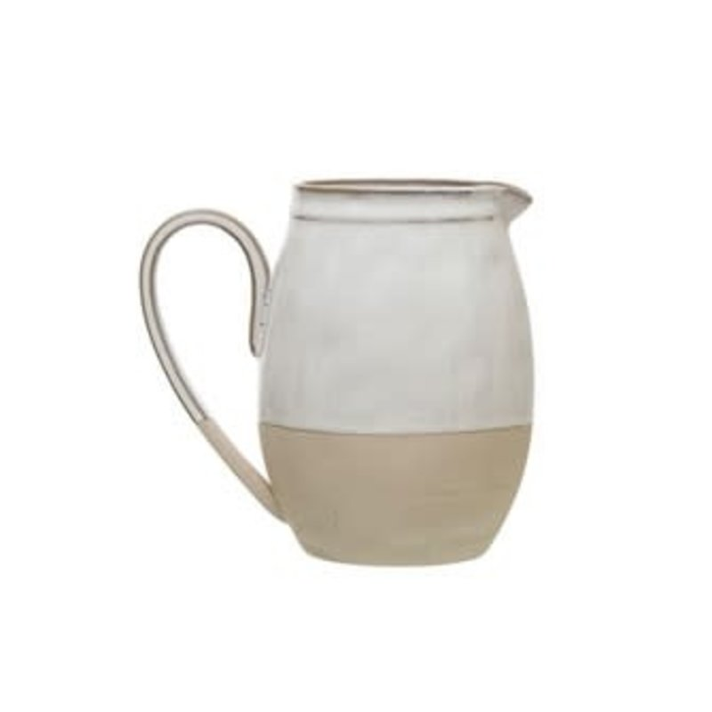 """Creative Co-Op Stoneware Pitcher 7"""" Tall"""
