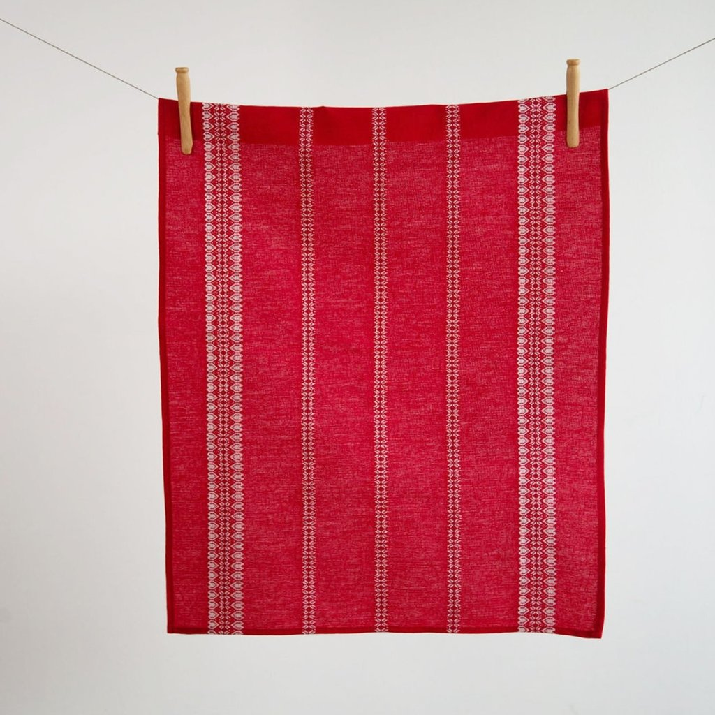 - Linen/Cotton Red & White Hand/Tea Towel