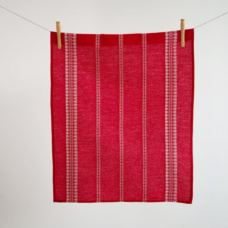 Linen/Cotton Red & White Hand/Tea Towel