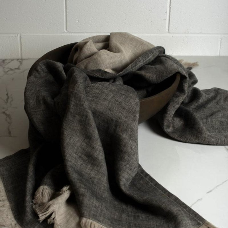 Linen Corsica Throw - Black/Natural Flax