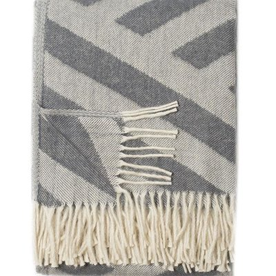 Olympia Grey/Cream Throw - Wool