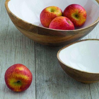 BeHome Mango Wood and White Enamel Bowl - Large