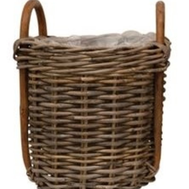 """- Wood Basket w/ Handles and Lining 11""""Dx 15""""H"""