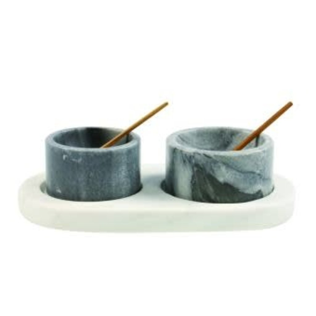 BeHome White & Grey Marble Set w/Tray &Spoons