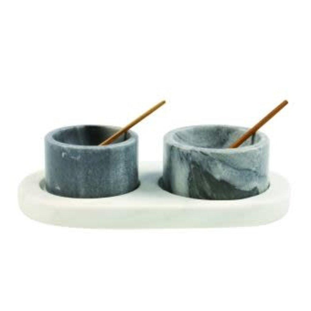 White & Grey Marble Set w/Tray &Spoons