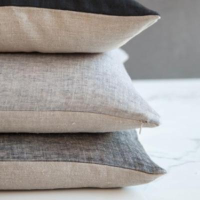 Linen Corsica Pillow Cover - Black/Natural Flax