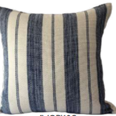 Cream Denim Stipe Guatemala Pillow Cover