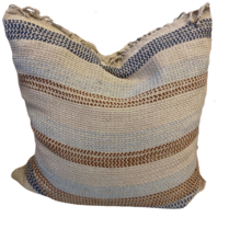 Bone and Navy Strip Guatemala Pillow Cover