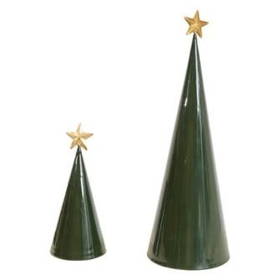 Metal Cone Tree with Gold Star - Small