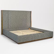 Nolan Bed in Peppercorn Tweed