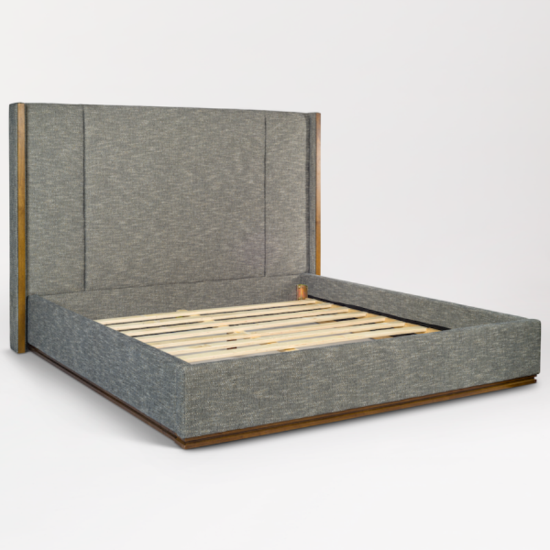 Nolan Bed in Peppercorn Tweed