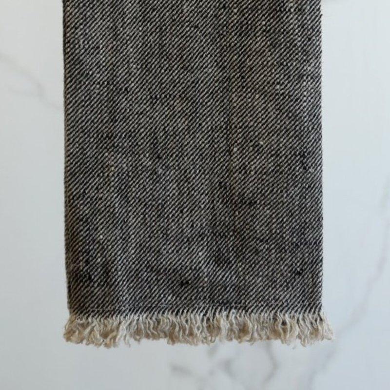 Linen Way Stonewash Linen Bilbao Hand Towel/Tea Towel- Charcoal