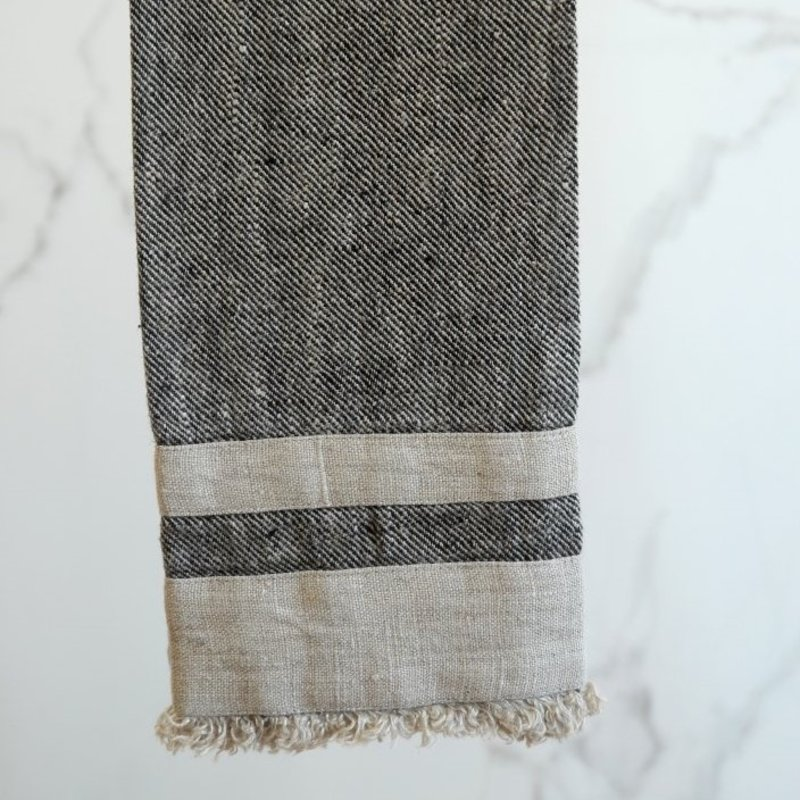 Lipari Black/Natural Hand/Tea Towel - Stonewashed Linen