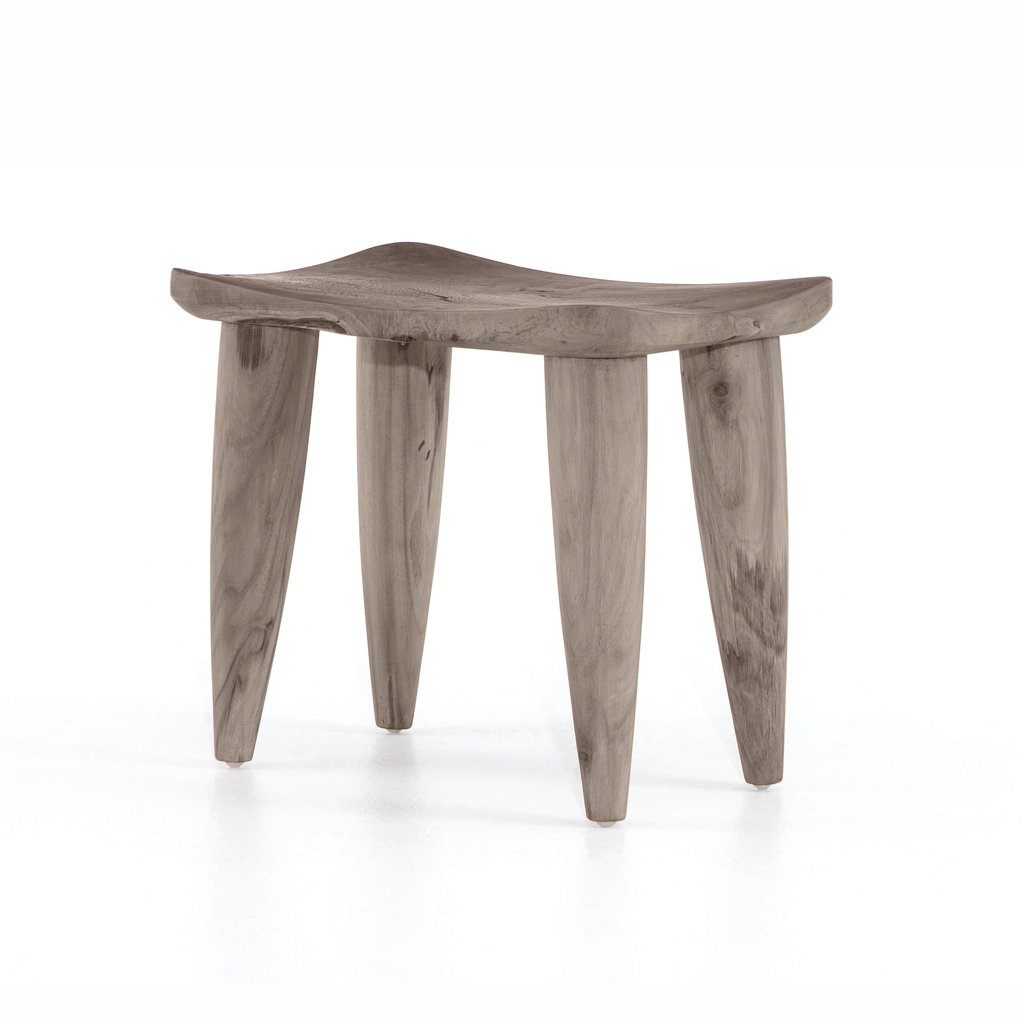 Four Hands Topanga Solid Teak Stool Washed Grey