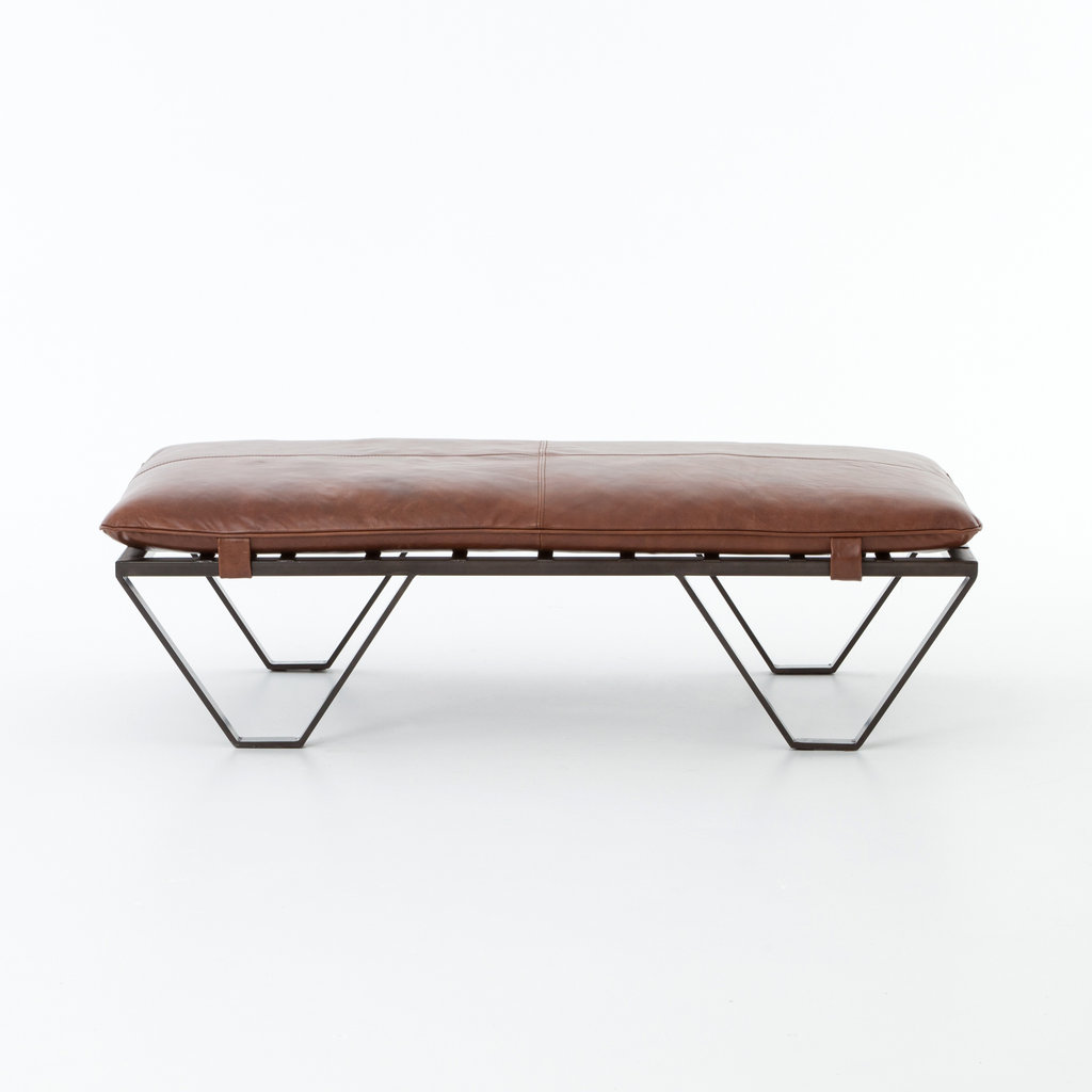 Dean Ottoman - Tan Top Grain Leather