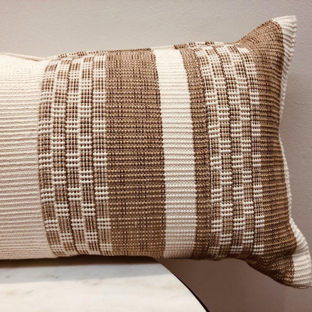 "- Cream + Cocoa Lumbar 12""x30"" Guatemala Pillow Cover"