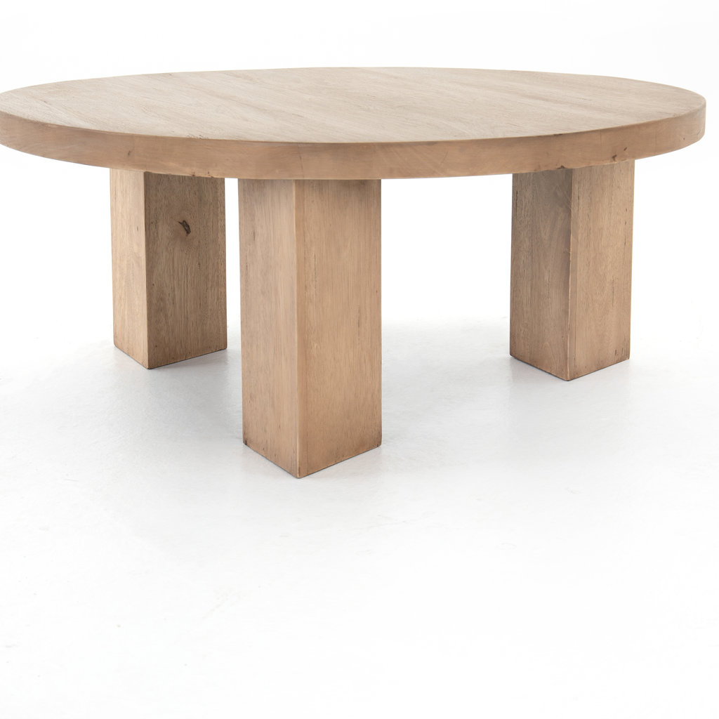 - MASSI ROUND COFFEE TABLE-LIGHT BRUSHED
