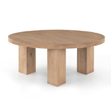 Four Hands MASSI ROUND COFFEE TABLE-LIGHT BRUSHED