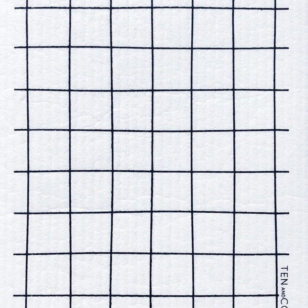 Ten & Co Grid Black Sponge Cloth