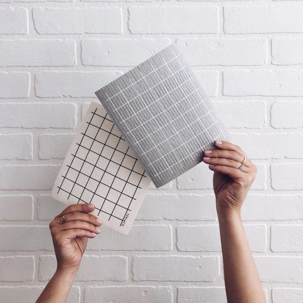 - Grid Black Sponge Cloth