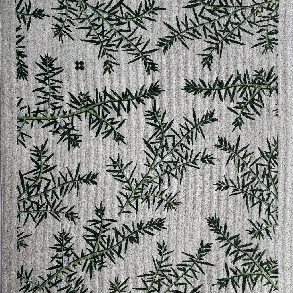 - Juniper Greens on Grey Sponge Cloth