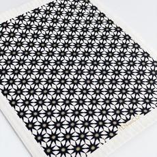 Ten & Co Starburst Gold & Black on White Sponge Cloth