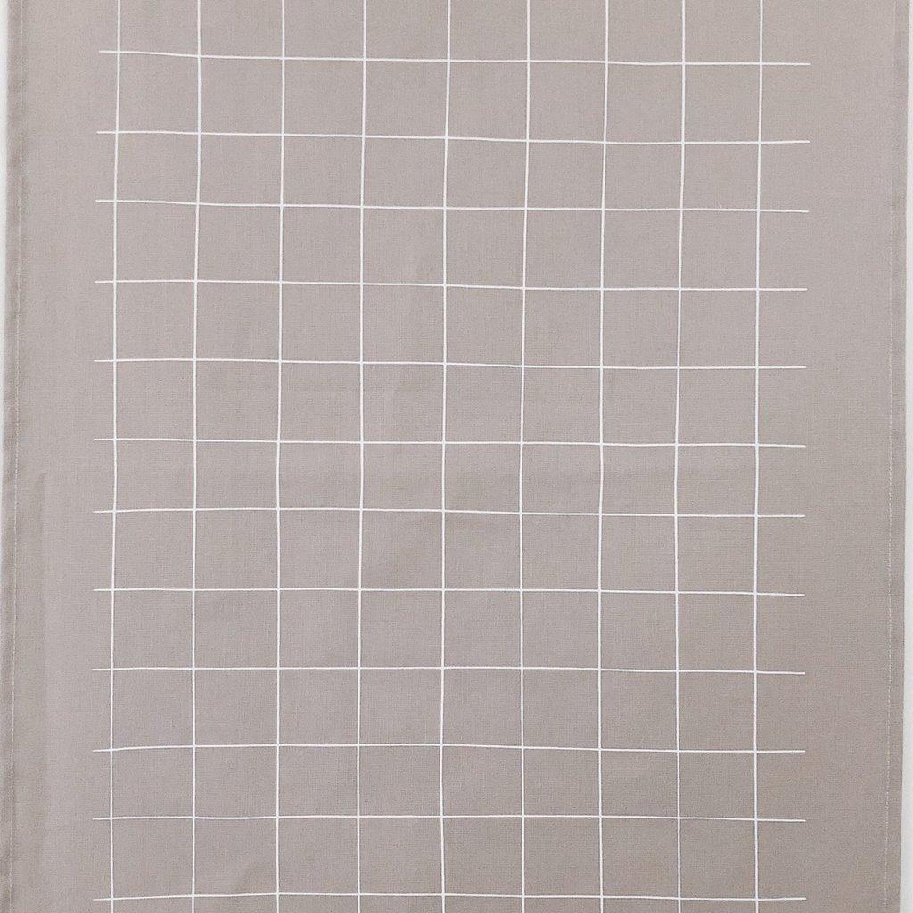 - Tea Towel Grid (White on Warm Grey)