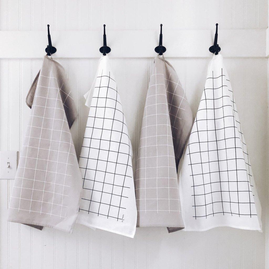 Ten & Co Tea Towel Grid (Black on White)