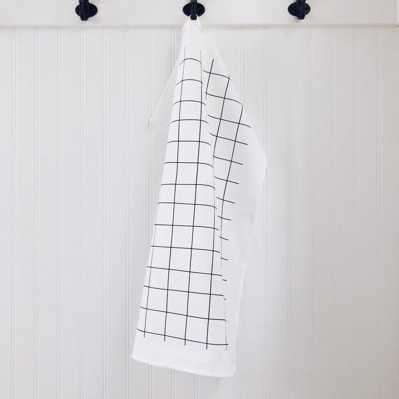 - Tea Towel Grid (Black on White)