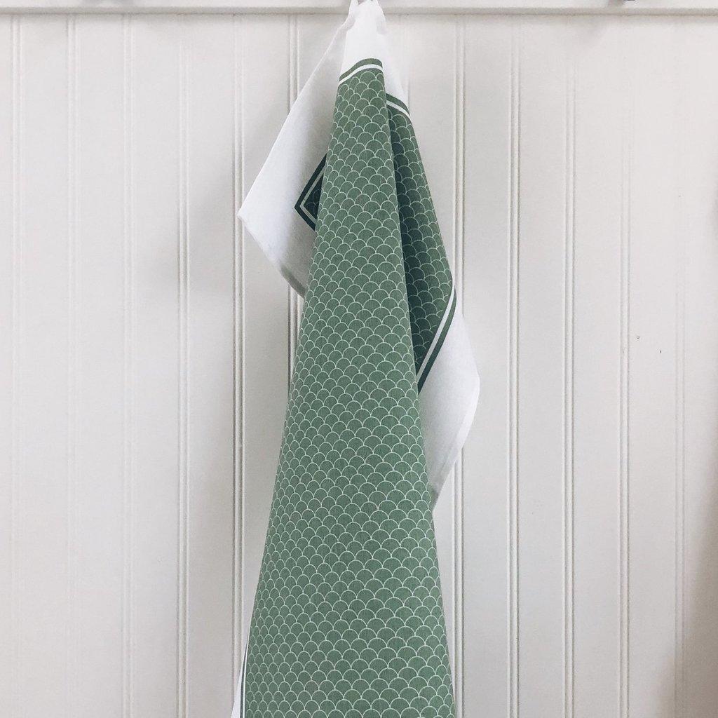 Tea Towel Scallop Sage