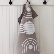 Tea Towel Arc White on Grey